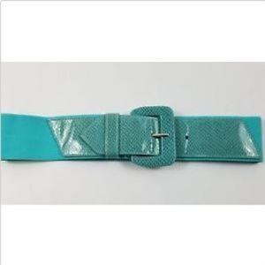 Women's Wide Blue Belt with Buckle Closure